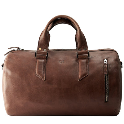 Brown fashion leather duffle bag for men. Handmade designer handbag