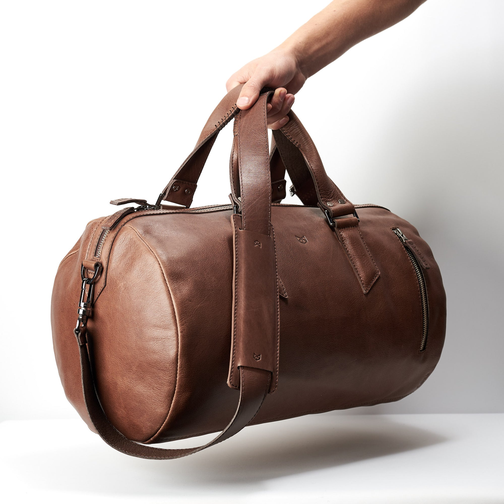 3704ff33da42 Handmade Substantial Leather Duffle Bag · Brown by Capra - Capra Leather