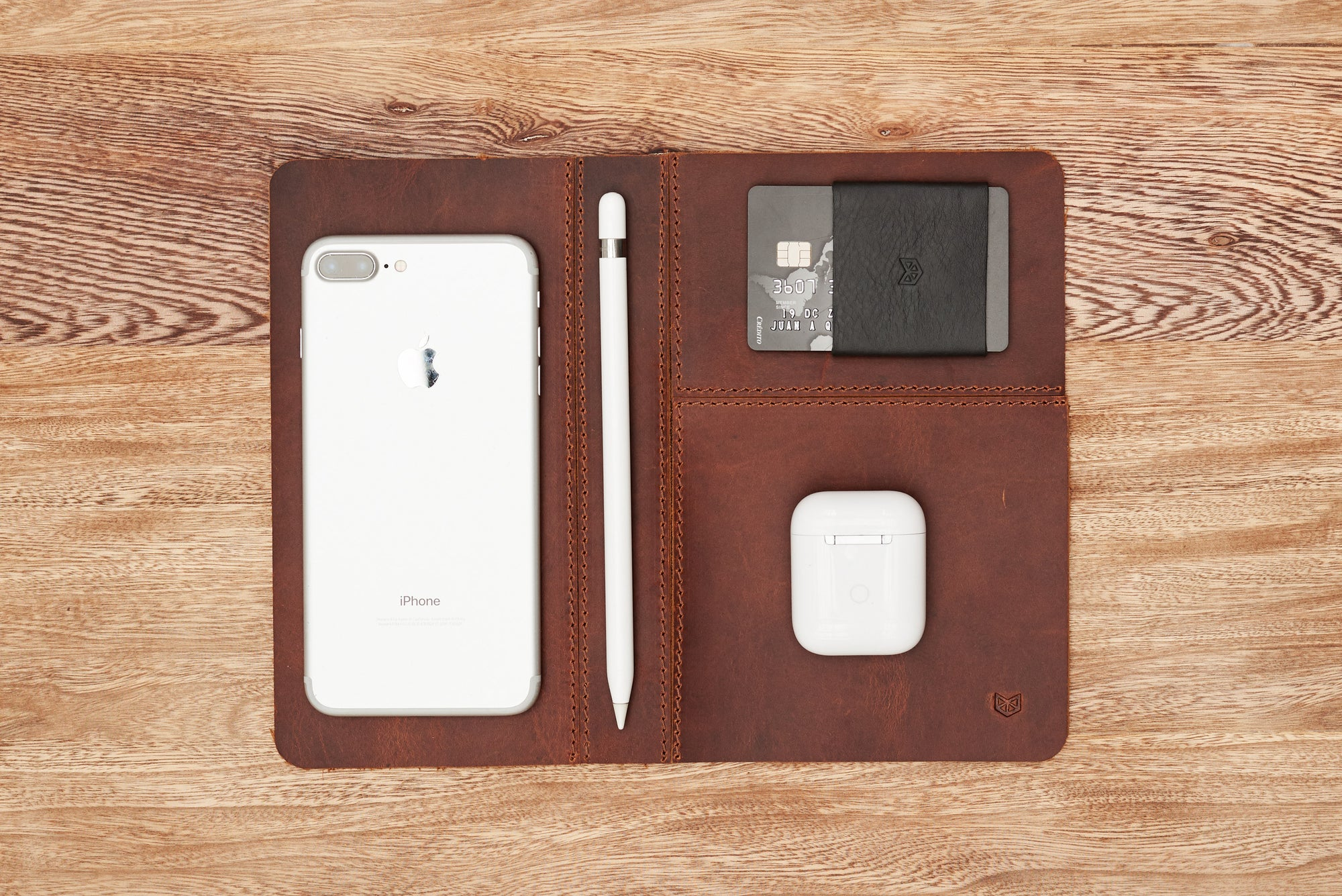 Cover. EDC Organizer Pad Distressed Tan by Capra Leather