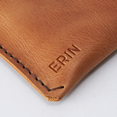 Initials engraving on our leather Dell XPS laptop sleeve