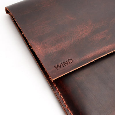 Custom monogram. Red brown  leather Macbook pro touch bar sleeve. Designer unique mens cases.