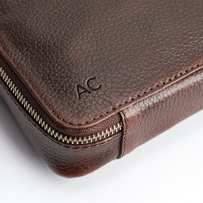 Custom monogram. Dark Brown leather gadget bag, tech dopp kit, electronic organizer. Fits iPad Pro with Apple pencil.