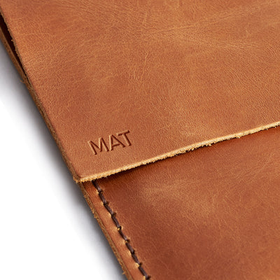 Custom monogrammed case. Leather Dell XPS Sleeve Case by Capra Leather