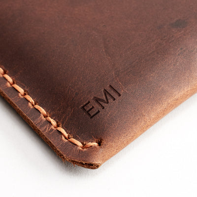 Custom monogram engraving. Tan leather sleeve for Pixel Slate. Mens gifts