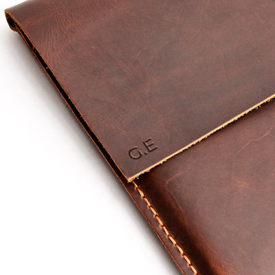 "Case engraving on tan leather Dell XPS 13"" 15"" sleeve"