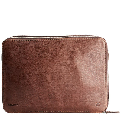 Custom monogram. Men's brown leather 15 inch tech laptop tablet bag is perfect to travel organized.