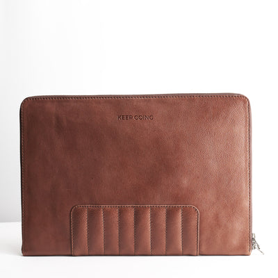 Custom monogrammed leather case. Brown Leather Laptop Portfolio Case.