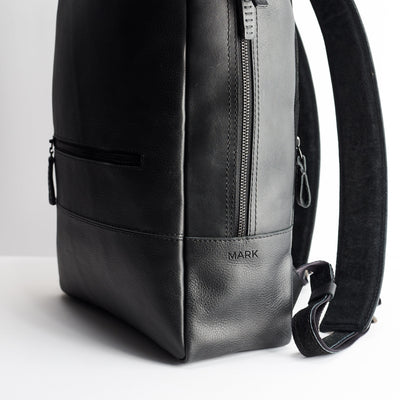 Custom engraving. Personalized black mens leather backpack. Handmade designer rucksack