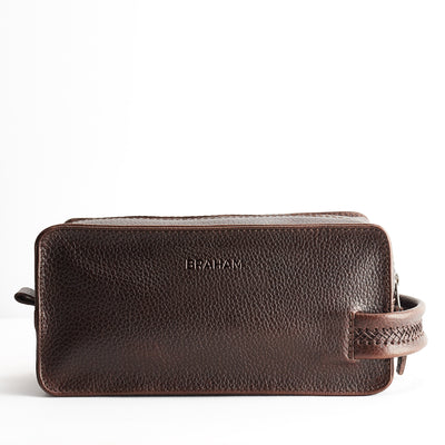 Custom engraving. Dark Brown leather toiletry, shaving bag with hand stitched handle. Groomsmen gifts