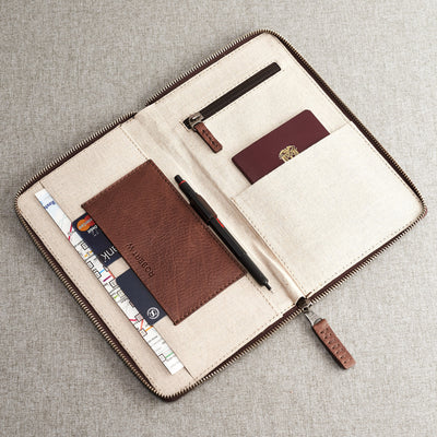 Interior compartment engraving. Brown leather passport for travelers, gifts for men.
