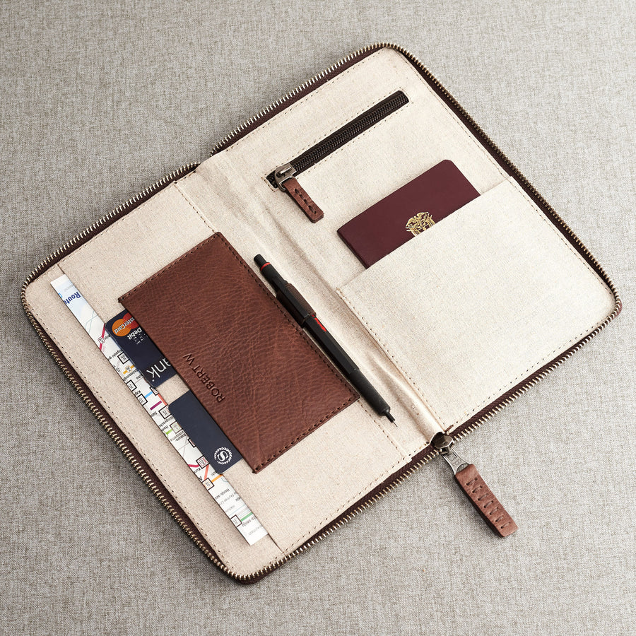 Brown leather passport for travelers, gifts for men.