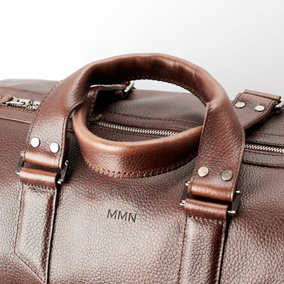 Custom engraving.  Dark brown leather carryall bag. Mens travel weekender bag