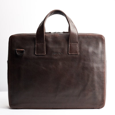 Personalized custom engraving detail. Dark brown leather soft briefcase for men. Handmade workbag