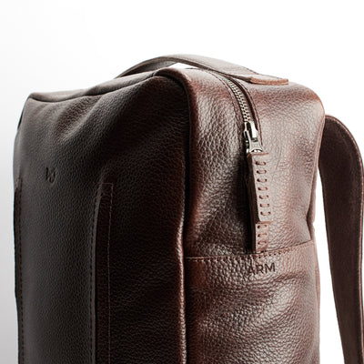 Custom engraving. Dark brown Leather Backpack for men. Designer unique rucksack