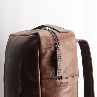 Custom Engraving. Brown leather Tamarao rucksack for men. Office style unique backpack
