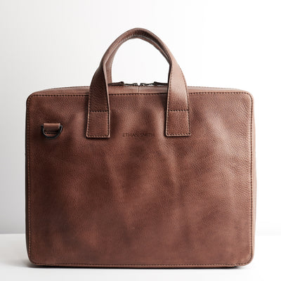 Personalized custom engraving detail. Brown leather soft briefcase for men. Handmade workbag