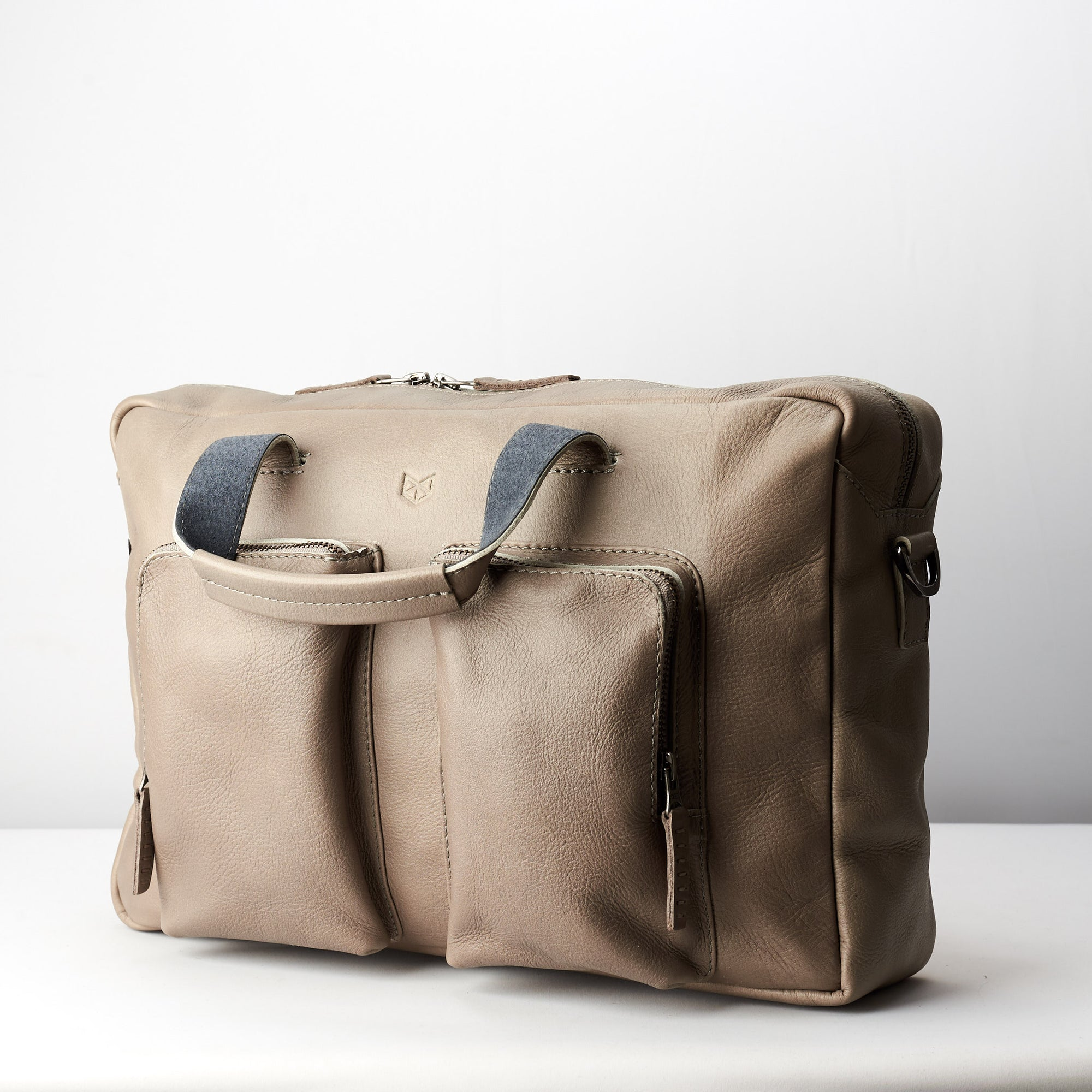 Grey handmade leather messenger bag for Men by Capra Leather. Commuter bag 23296eeab1