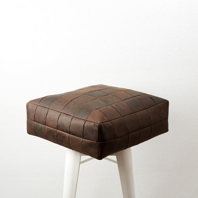 Brown Leather floor cushion pillow for home furniture.