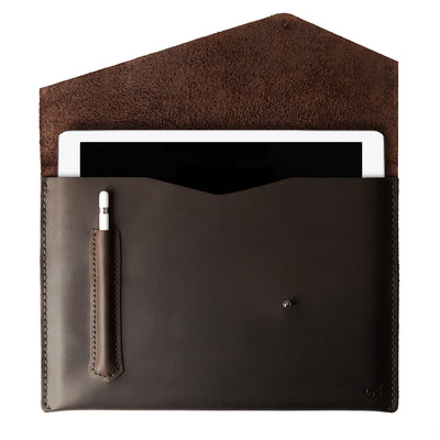 Open dark brown leather sleeve for iPad pro. Marron leather sleeve for iPad pro 10.5 inch 12.9 inch. Mens gifts