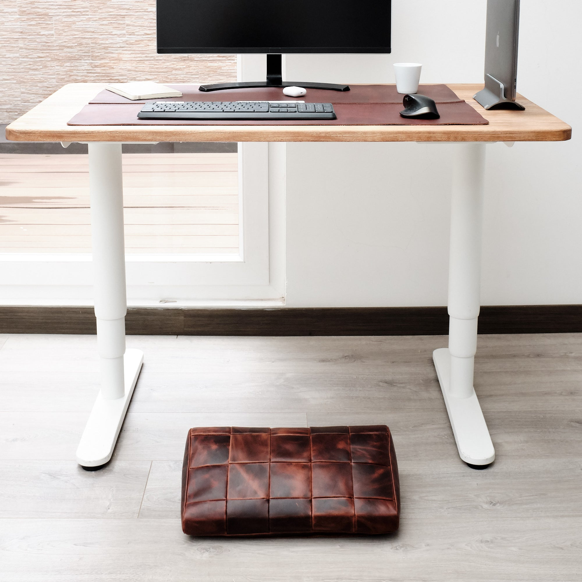 Front view 24x36. Leather Desk Pad Distressed Cognac by Capra Leather