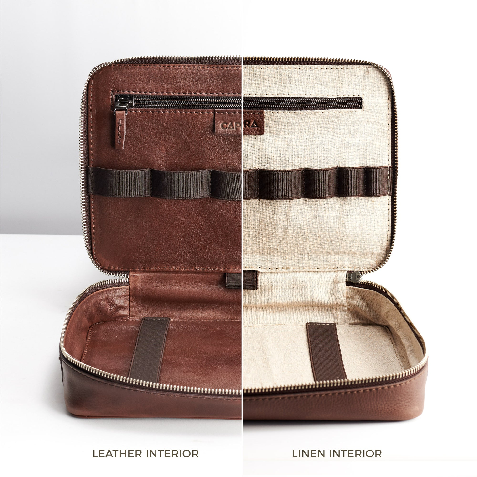 Brown leather gadget bag, tech dopp kit, electronic organizer. Fits iPad Pro with Apple pencil.