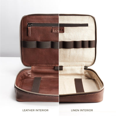 Linen or leather interior. Leather essentials bag. Mens gadget bag for tech devices