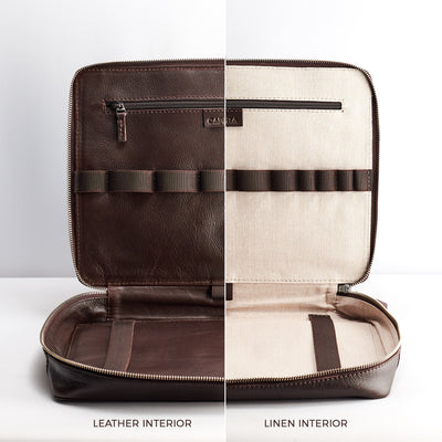 Linen or leather interior. Laptop 15 inch and tablet travel bag.
