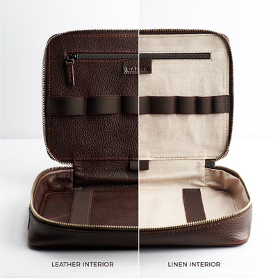 Leather or linen interior. Dark Brown leather gadget bag, tech dopp kit, electronic organizer. Fits iPad Pro with Apple pencil.