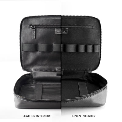 Storage capacity. Black leather gadget bag, tech dopp kit, electronic organizer.
