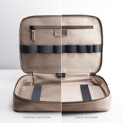 Leather or linen interior. Grey leather Gadget  travel bag. Mens leather tech bag