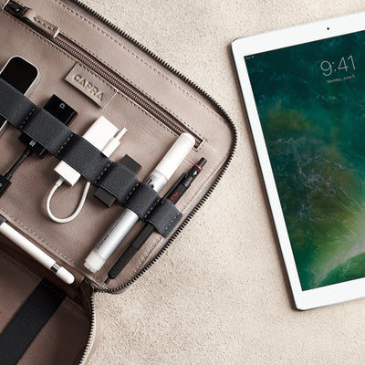 iPad Pro bag. leather gadget bag, tech dopp kit, electronic organizer. Fits iPad Pro with Apple pencil.