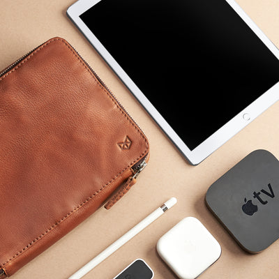 Style. Tan leather gadget bag, tech dopp kit, electronic organizer. Fits iPad Pro with Apple pencil.
