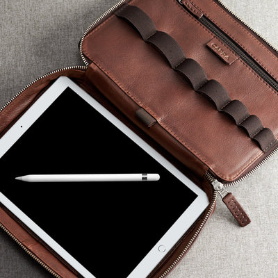 iPad 10.5 inch pocket. Brown leather gadget bag, tech dopp kit, electronic organizer. Fits iPad Pro with Apple pencil.