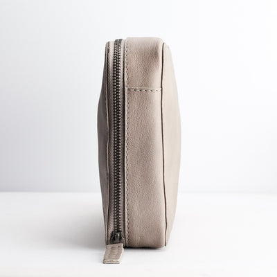 Profile. Grey leather Gadget  travel bag. Mens leather tech bag