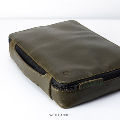 Handle detail.  Military green leather gadget bag, tech dopp kit, electronic organizer. Fits iPad Pro with Apple pencil.