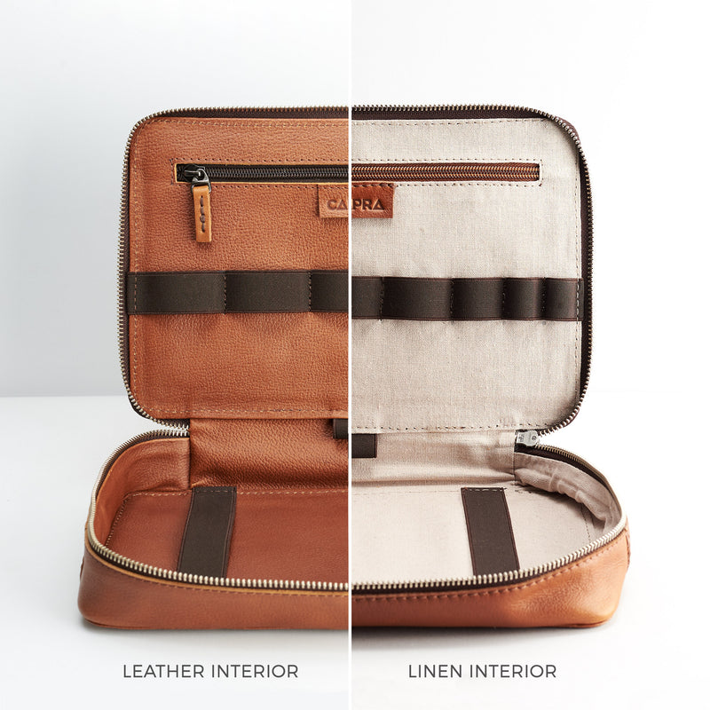 Tan leather gadget bag, tech dopp kit, electronic organizer. Fits iPad Pro with Apple pencil.