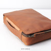 Handle detail.  Tan leather gadget bag, tech dopp kit, electronic organizer. Fits iPad Pro with Apple pencil.