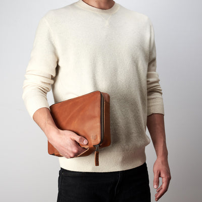Tan leather gadget bag for Men by Capra Leather, tech dopp kit, electronic organizer. Fits iPad Pro with Apple pencil.