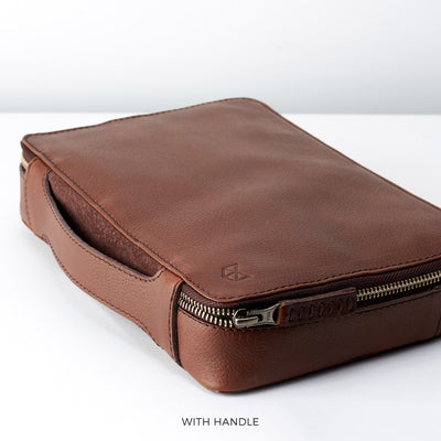 Handle detail.  Tobacco Brown leather gadget bag, tech dopp kit, electronic organizer. Fits iPad Pro with Apple pencil.
