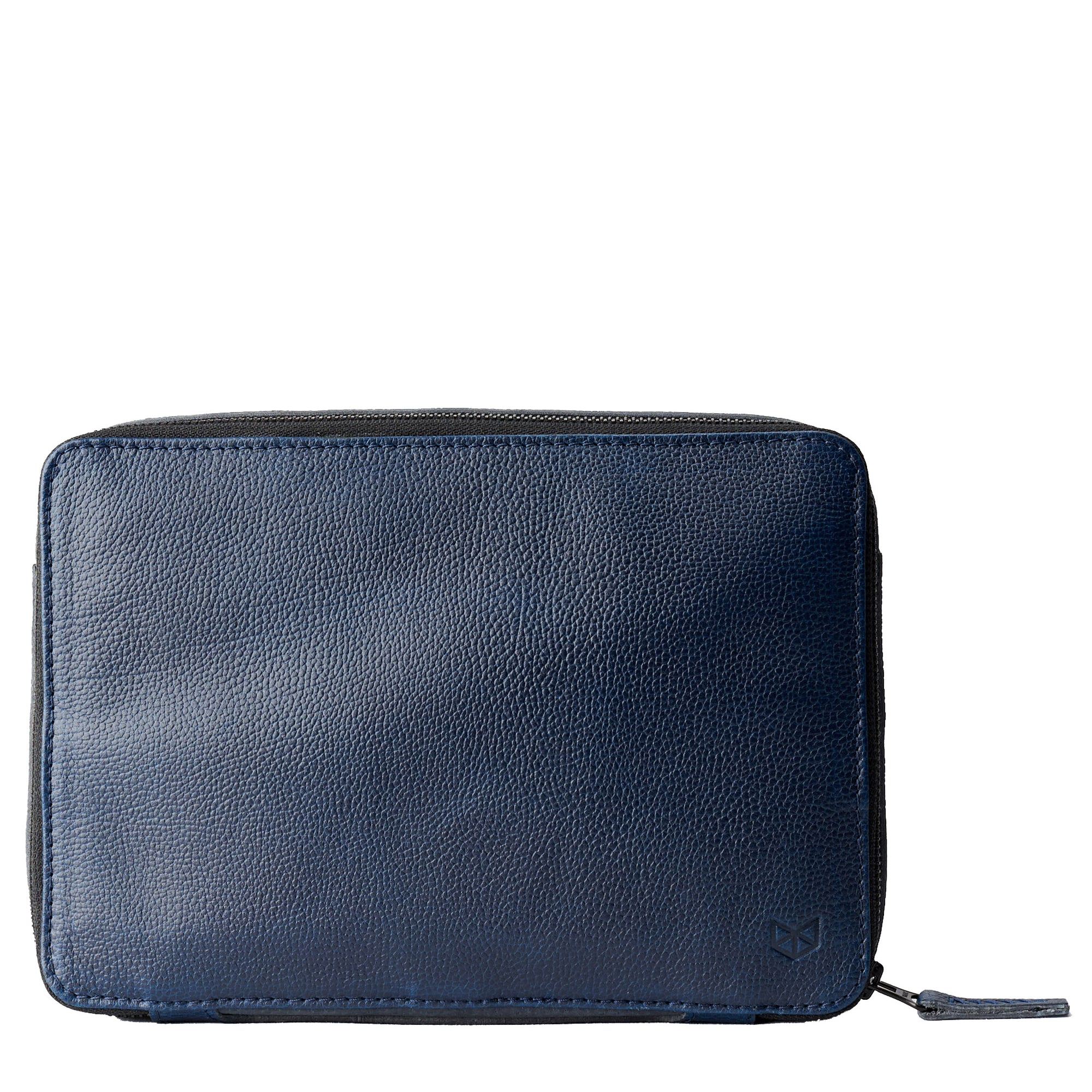 Cover. Ocean blue leather gadget bag, tech dopp kit, electronic organizer. Fits iPad Pro with Apple pencil by Capra Leather