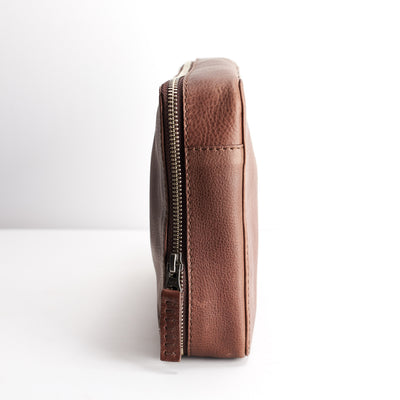 Slim profile. Brown Leather essentials bag for iPad. Travel bag. Tech devices pockets