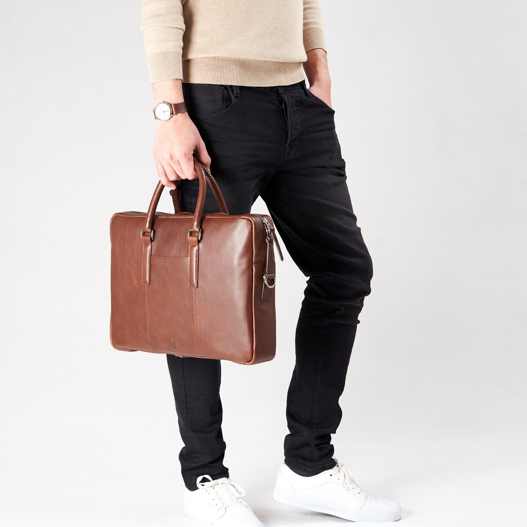 Frontal view attache case .Brown leather briefcase laptop bag for men. Gazeli laptop briefcase by Capra Leather.