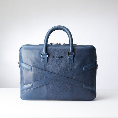 Back and luggage strap for slim portfolio .Blue leather briefcase laptop bag for men. Gazeli laptop briefcase by Capra Leather.