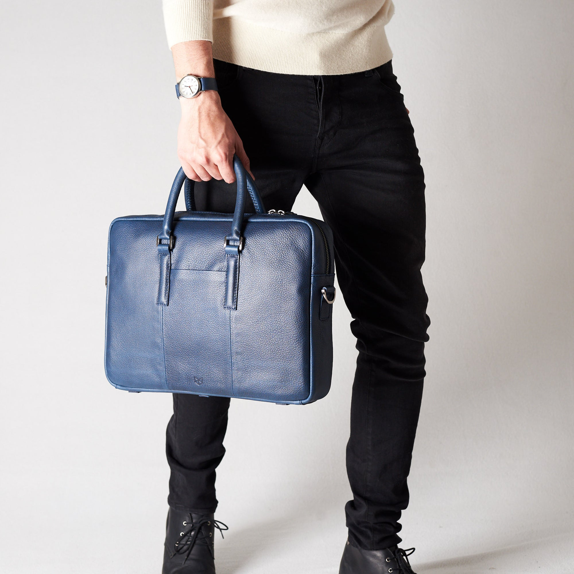 Frontal view attache case .Blue leather briefcase laptop bag for men. Gazeli laptop briefcase by Capra Leather.
