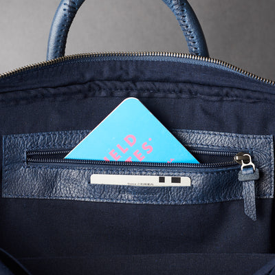 Interior detail for bussiness cards .Blue leather briefcase laptop bag for men. Gazeli laptop briefcase by Capra Leather.