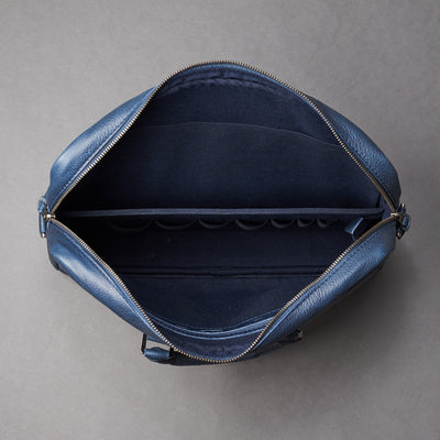 Interior with 7 division slots .Blue leather briefcase laptop bag for men. Gazeli laptop briefcase by Capra Leather.