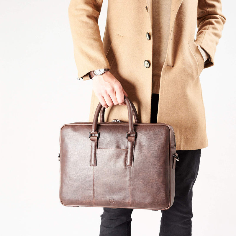 Frontal view attache case .Dark Brown leather briefcase laptop bag for men. Gazeli laptop briefcase by Capra Leather.