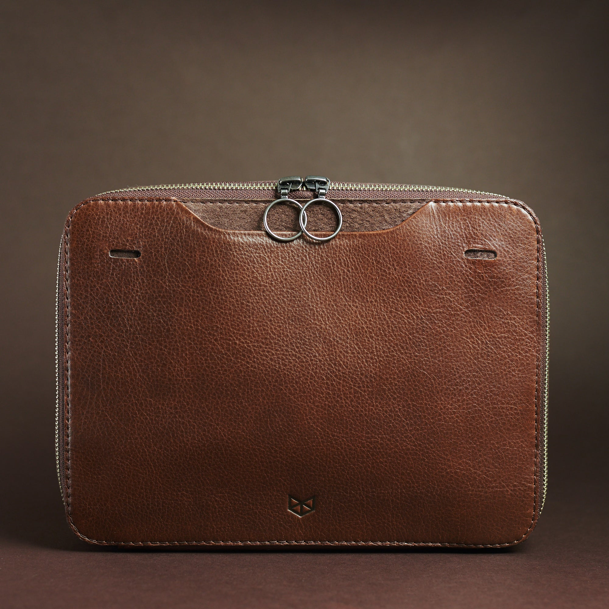 Cover. Brown Small Gear Travel Pouch 2 by Capra Leather