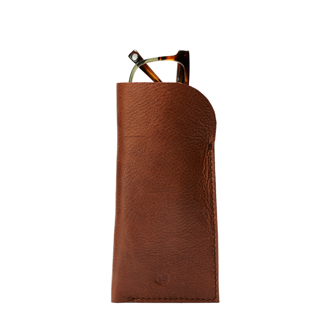 Tan Brown handmade glasses case for man. Minimalist leather glasses sleeve