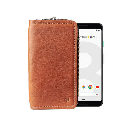 Pixel case, Carefully handcrafted brown leather case stand wallet for new Google Pixel 2 and 2 XL. Men's Pixel sleeve with card holder. Crafted by Capra Leather.